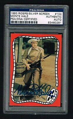 Monte Hale1993 Riders Silver Screen Card signed autograph auto PSA/DNA Slabbed