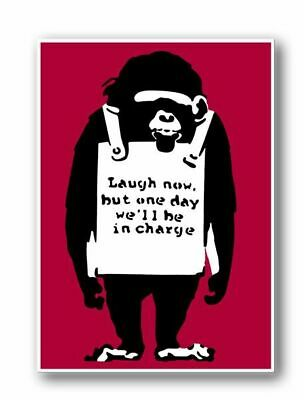 BANKSY-MONKEYS Laugh Now RED QUALITY CANVAS Print 45cm -Graffiti Street Poster
