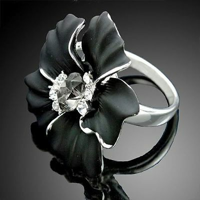 Large Black Flower Clear Crystal Cocktail Rings Gift 18K White Gold Plated