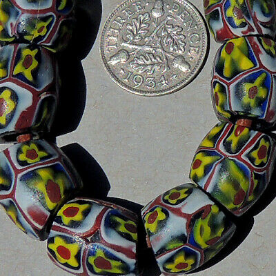 11 old antique venetian oval millefiori african trade beads #888