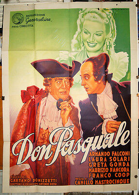 manifesto 4F film DON PASQUALE Armando Falconi Laura Solari 1940 art MARTINATI