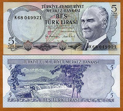 Turkey, 5 Lira, L. 1970 (1976), P-185, UNC