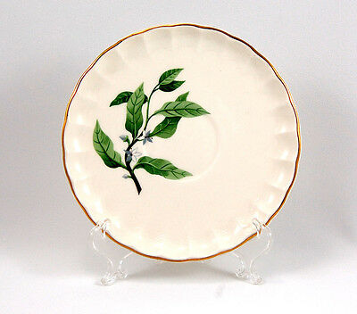 W S George B8760 Saucer Only 6 in. Green Leaves Gold Trim