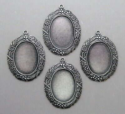 #1729 ANTIQUED SS/P 18X13 BORDERED BEZEL W/TOP HANG RING - 4 Pc Lot
