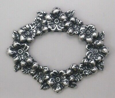 #3345 ANTIQUED SS/P OVAL FLORAL WREATH BROOCH - 1 Pc Lot