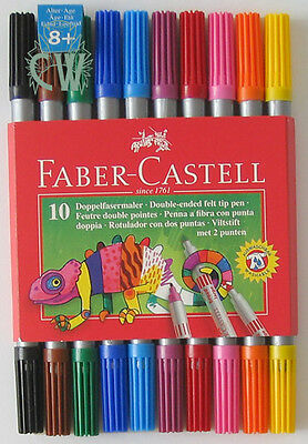 Faber Castell DOUBLE ENDED Colour Marker Pens.Set of 10. Perfect for Art & Craft