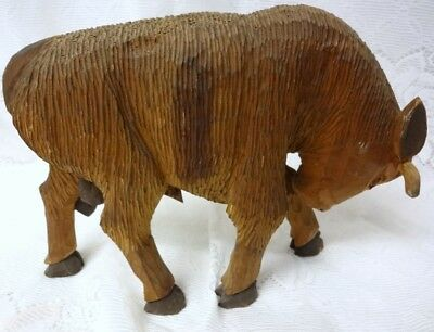 Vintage Folk Art Carved Wood Black Forest Hunting Buffalo