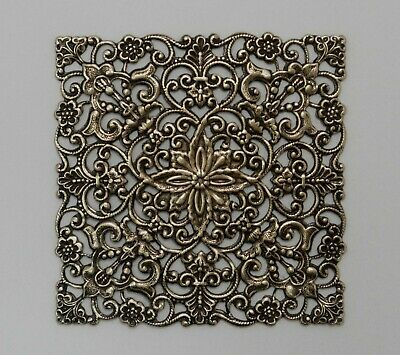 #4107 LARGE ANTIQUED GOLD SQUARE OPEN FILIGREE COMPONENT - 2 Pc Lot
