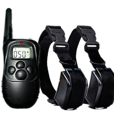 LCD 100 Level e-collar Shock Vibra Electric Remote Pet 2 Dog training Collar US