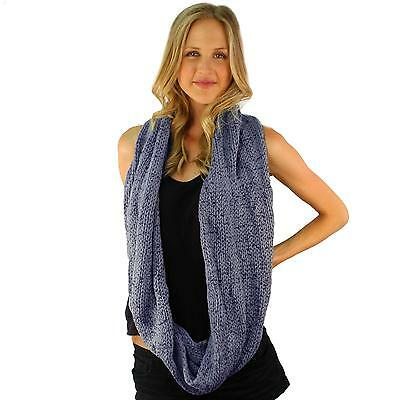 Men's Winter Chunky Soft Distressed Long Knit Circle Loop Infinity Scarf Blue