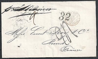 Caribbean 1863 folded cover to Reims