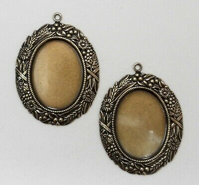 #1728 ANTIQUED GOLD 25x18 BORDERED BEZEL W/TOP HANG RING - 2 Pc Lot