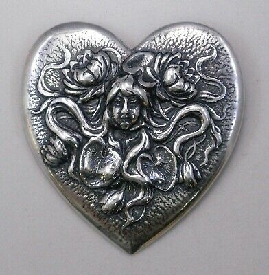 #3018 ANTIQUED SS/P LADY OF THE LAKE HEART SHAPED BROOCH - 1 Pc Lot