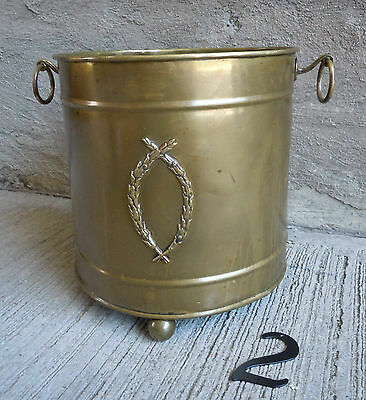 Vintage Solid Brass Kindling Bucket/Pale w/Copper Rivets (#2)