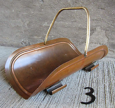 Vtg Solid Copper Fireplace Log Basket/Kindling Carrier w/Swivel Brass Handle #3