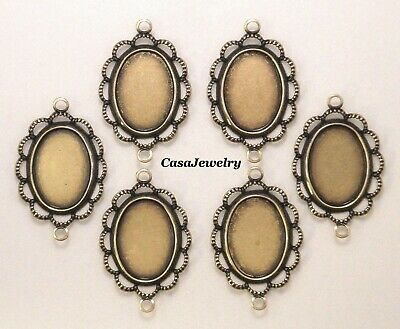 #4019 ANTIQUED GOLD 14x10 BEZEL W/RAISED LACE BORDER & 2 RINGS - 6 Pc Lot