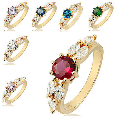Round Cut 18K Yellow Gold Plated Fashion Jewelry Ladies Ring 6