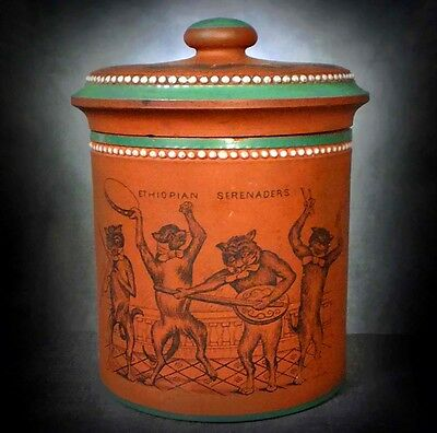 Rare Enamelled Redware Tobacco Jar With Images Of Cat Musicians