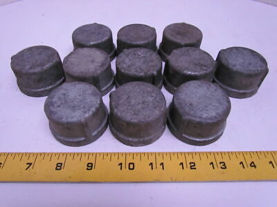 "Grinnell 1-1/4"" NPT Galvanized Pipe Cap Malleable Iron Class 150 USA Lot of 11"