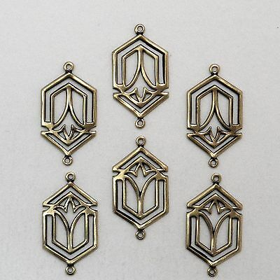 #3008 ANTIQUED GOLD 2 RING CELTIC STYLE CONNECTOR - 6 Pc Lot