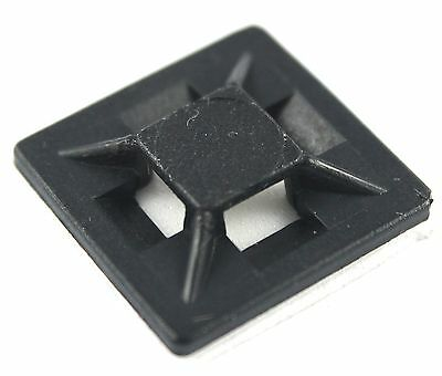 Self Adhesive Cable Tie Base Mounts Low Profile Black Zip Tie Sticky Back Fixing