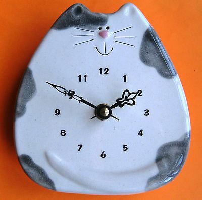 August Ceramic White and Gray Spotted Cat Clock
