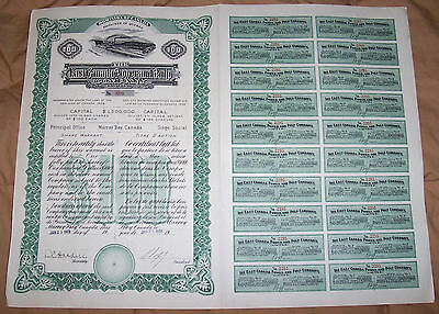 Canada 1911 East Canada Power and Pulp Company Quebec $100 Uncancelled Deco coup