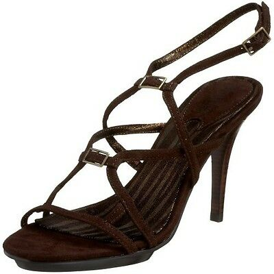 682fa5a00af0 New CHARLES DAVID strappy sandals 9 suede dark brown shoes heels high ankle