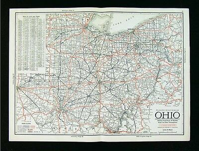 1930 Clason Auto Touring Road Map - Ohio - Cleveland Columbus Cincinnati Akron