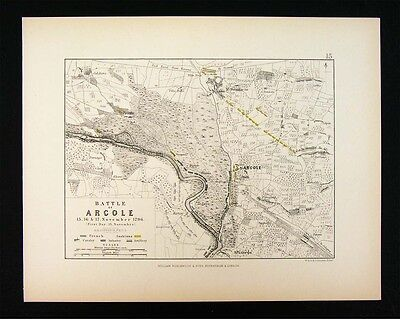 1855 Alison Military 2 Maps - Napoleon Battle of Arcole 1796 Italy Adige River