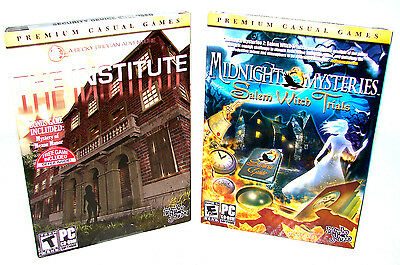 Midnight Mysteries + The Institute (Hidden Object 2 Game Pc Lot)  ***NEW***