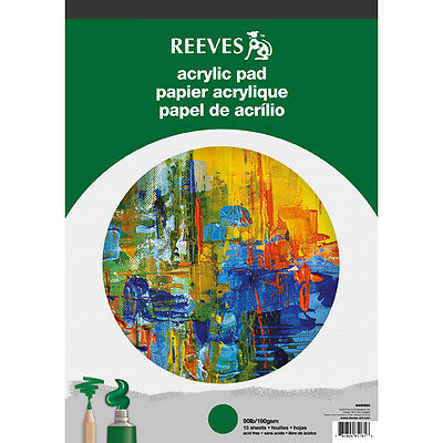 Reeves Acrylic Paper 15 Sheet Pads For Artists Acrylic Painting A4 or A3