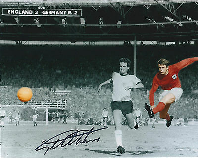 Geoff HURST SIGNED Autograph 10x8 Photo AFTAL 1966 World Cup Hat-trick Hero