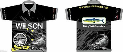 Sublimated Wilson Fishing Polo Shirt-Black-Upf25+Comfy Quick Dry-With Collar