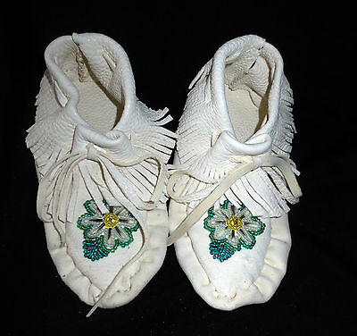 Child's Moccasins, bead & quill design, white leather (size 9.5) -Paul St John