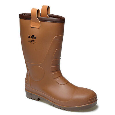 Dickies Groundwater Super Safety Mens Pull On Brown Wellingtons Boots UK6-12