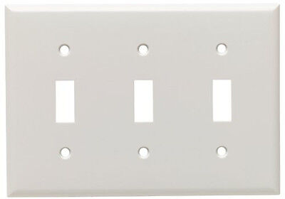 New Cooper Wiring Devices 2141W 3-Gang Standard White Toggle Plate *
