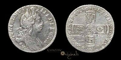 Scarce William Iii 1696 Early Milled Silver Sixpence Coin 026000