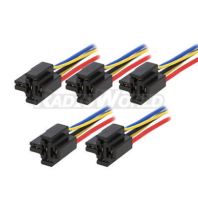 5x Pre Wired 4 / 5 Pin Relay Mounting Base Socket Holder 12V 24V 40A
