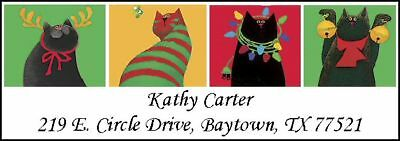 ~FOUR HOLIDAY CATS~ Return Address Labels! Cute!