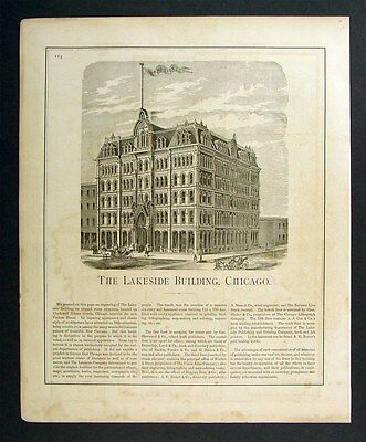 1876 Illinois View Chicago Lakeside Building Publishers
