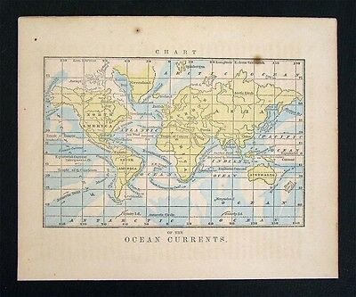 1857 Morse Map World Ocean Currents - Gulf Stream Pacific Atlantic Indian Arctic