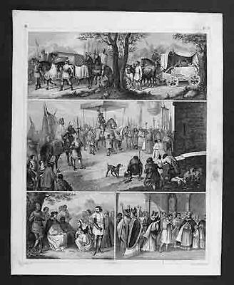 1849 Antique Engraved Print Crusades Knights Medieval