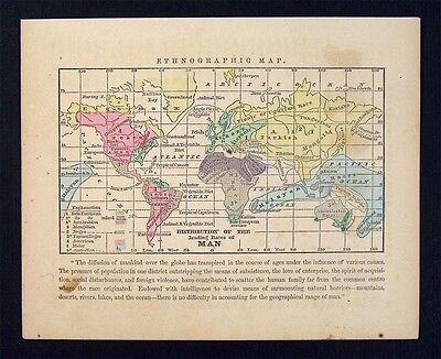1857 Morse Map World Ethnographic Chart - Races African Indian European Asian