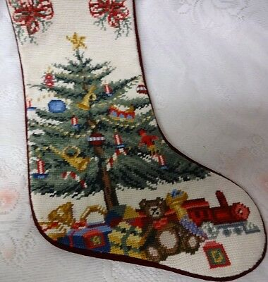 Vintage Christmas Tree Ornaments Presents Toys Bears Train Needlepoint Stocking