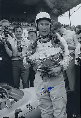 Stirling Moss SIGNED 12x8 Photo Vintage AFTAL COA Autograph Private Signing RARE