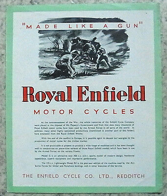 ROYAL ENFIELD MOTORCYCLES Sales Brochure 1946 RE 125cc Two Stroke & G 346cc OHV