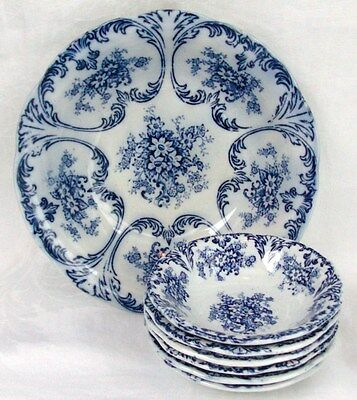 Liberta Prussia Antique Cobalt FLow Blue Berry Bowl Set~7 Pieces