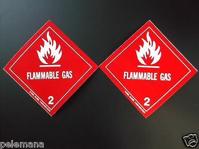 "2 (Two Labels) FLAMMABLE GAS 2 Red/White 4"" x 4"" Self Adhesive Paper Sticker NEW"