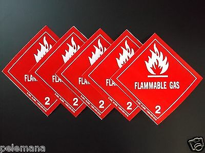 "5 -Five Labels FLAMMABLE GAS 2 Red/White 4"" x 4"" Self Adhesive Paper Sticker NEW"